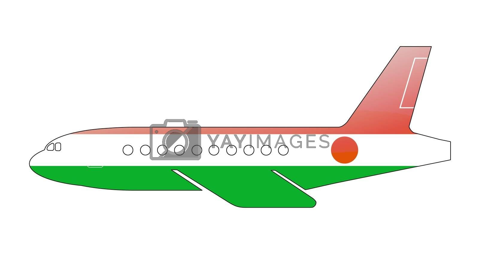 The Niger flag painted on the silhouette of a aircraft. glossy illustration
