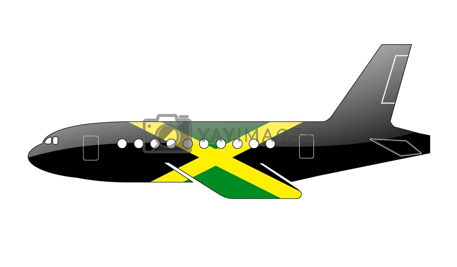 The Jamaica flag painted on the silhouette of a aircraft. glossy illustration