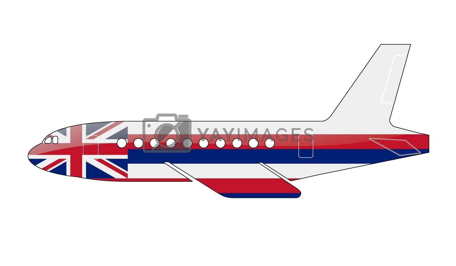 The Hawaii flag painted on the silhouette of a aircraft. glossy illustration