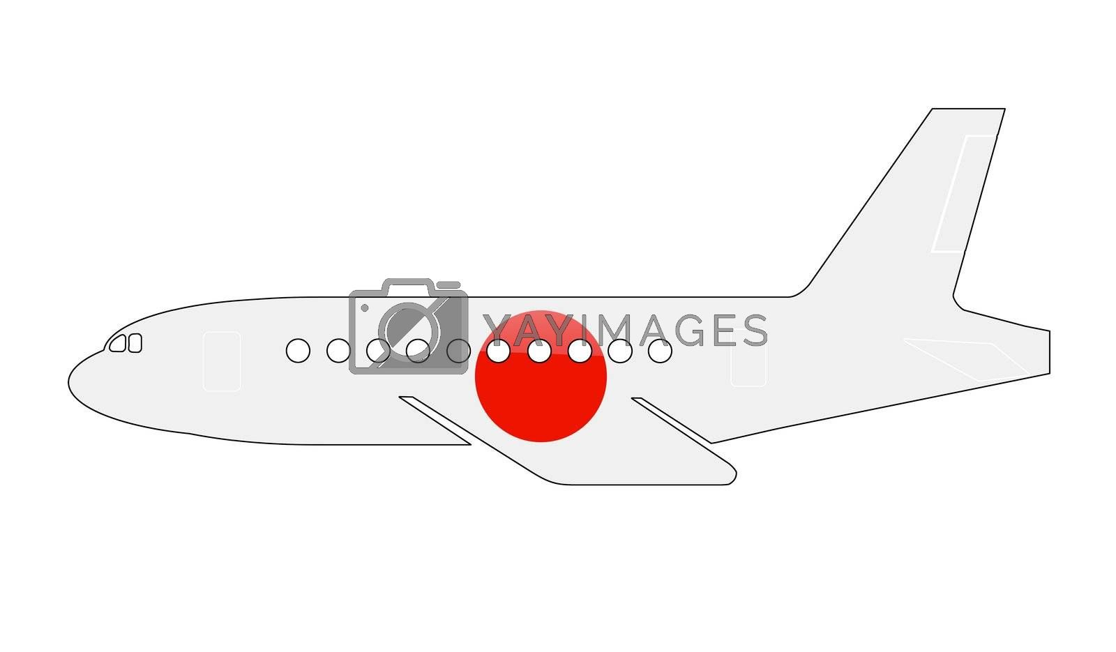 The Japan flag painted on the silhouette of a aircraft. glossy illustration