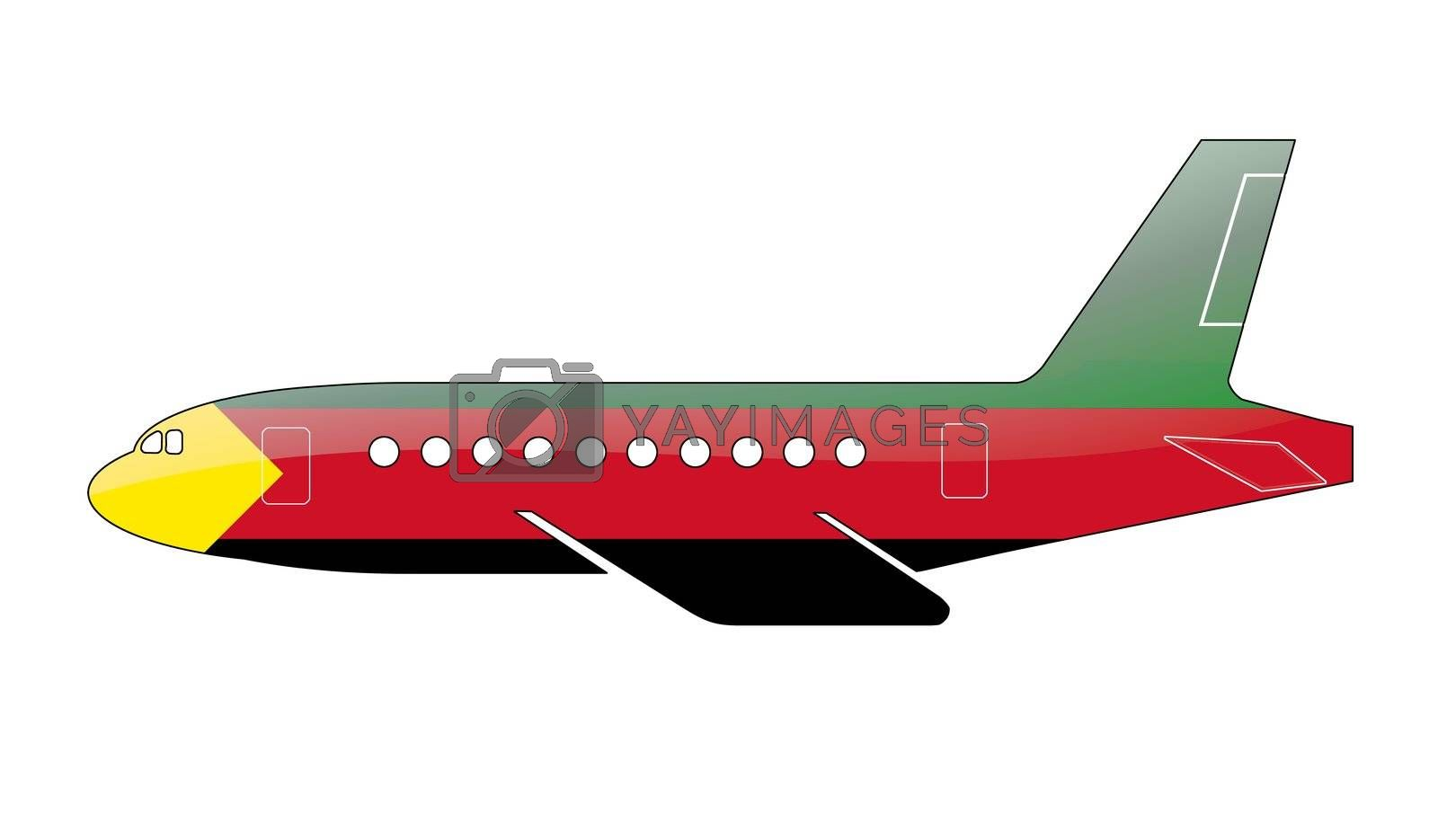 The Azavad flag painted on the silhouette of a aircraft. glossy illustration