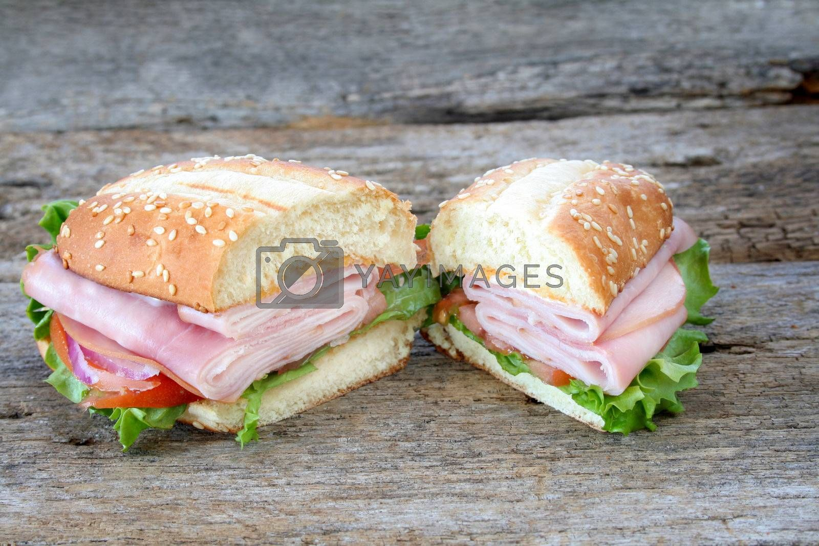 Ham sub/hoagie with all the fixings and cut in two.  Room for copy space.