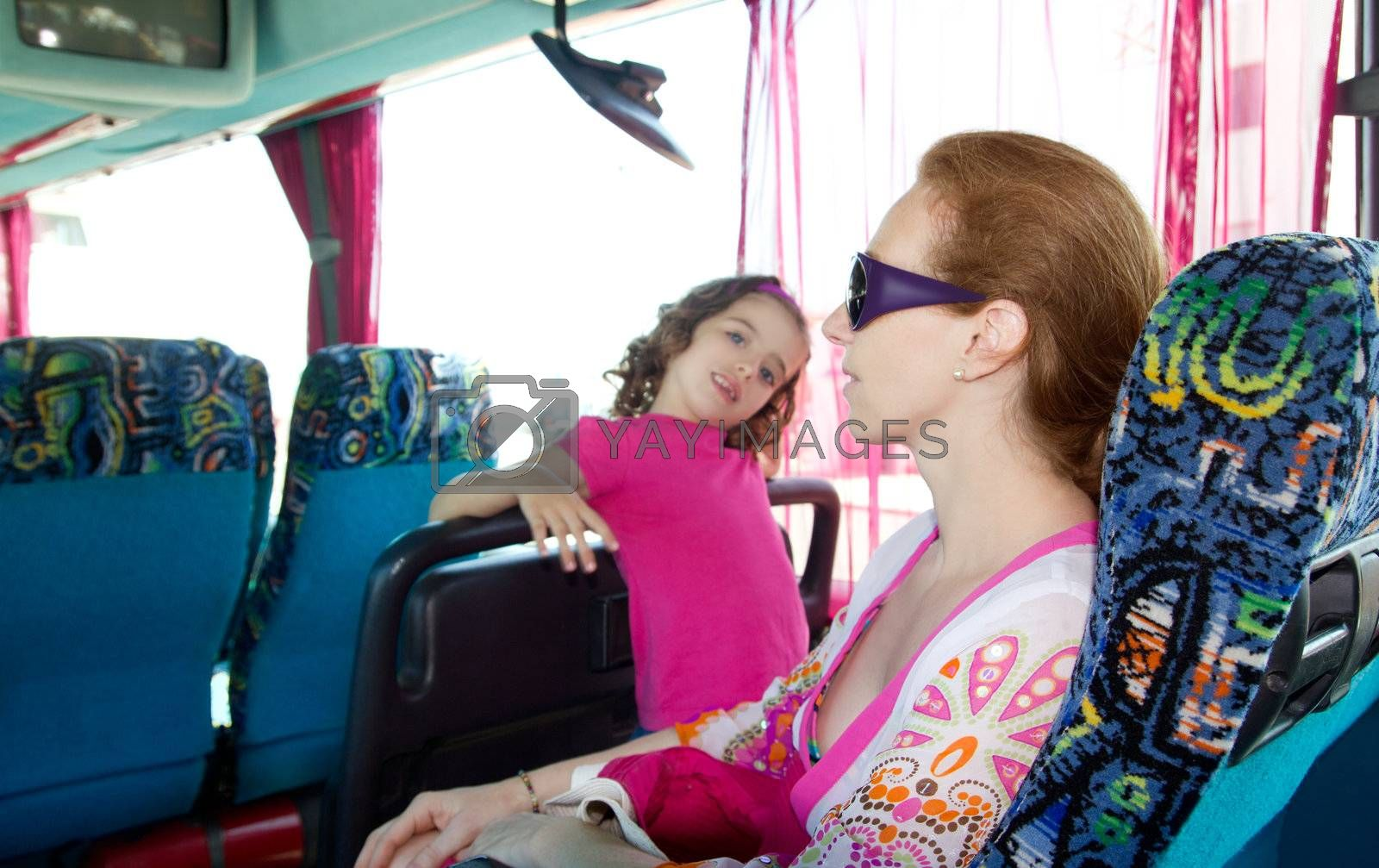 Girl on tourist bus happy with sunglasses by lunamarina