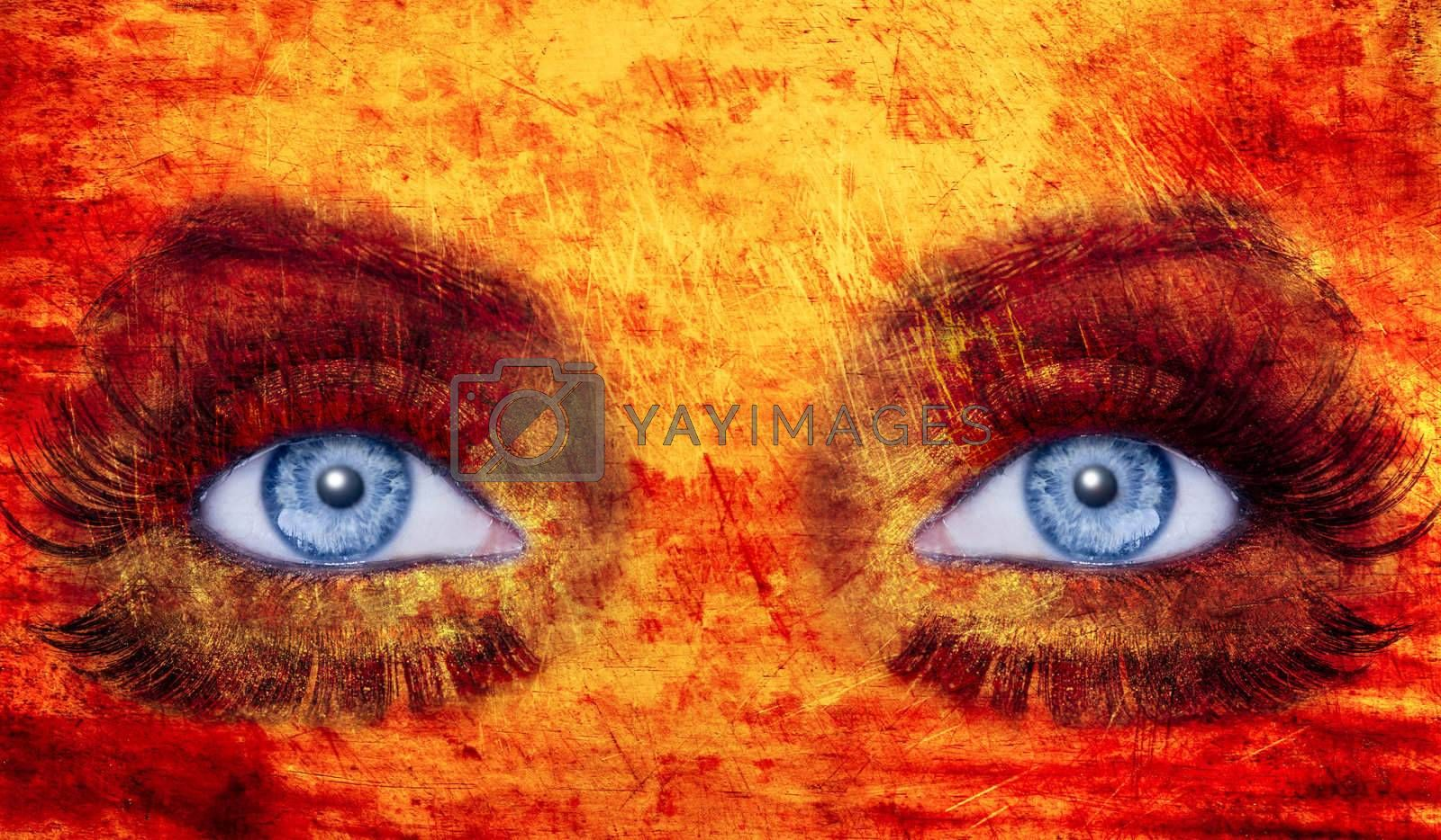 abstract blue eyes makeup woman texture red yellow by lunamarina