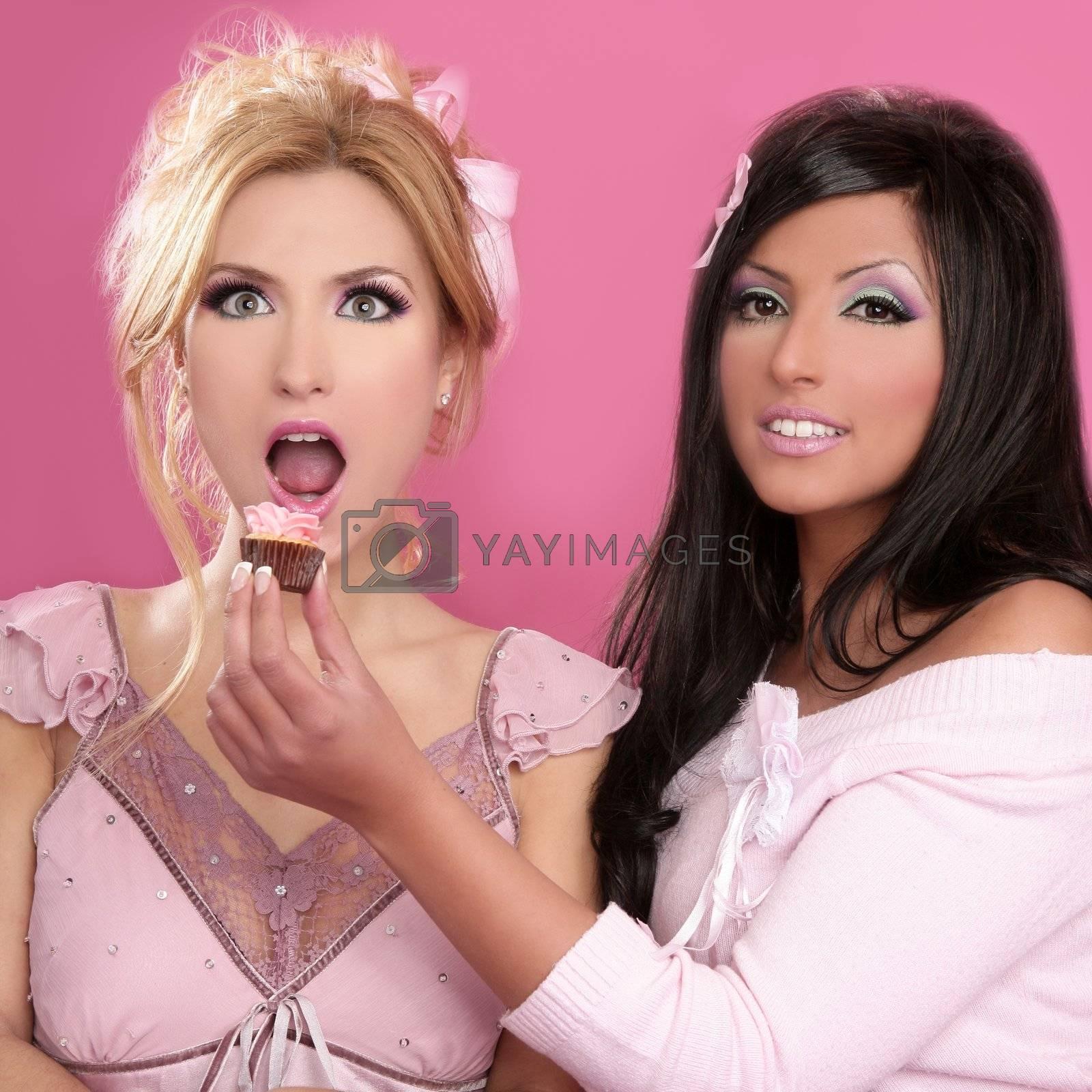 barbie beautiful girls eating diet sweet on pink background