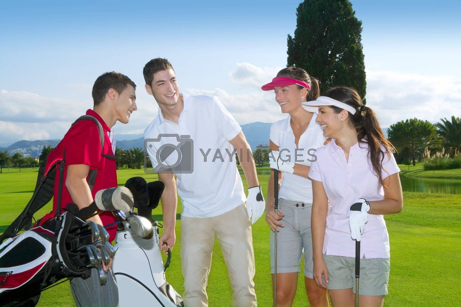 Golf course people group young players team grass field