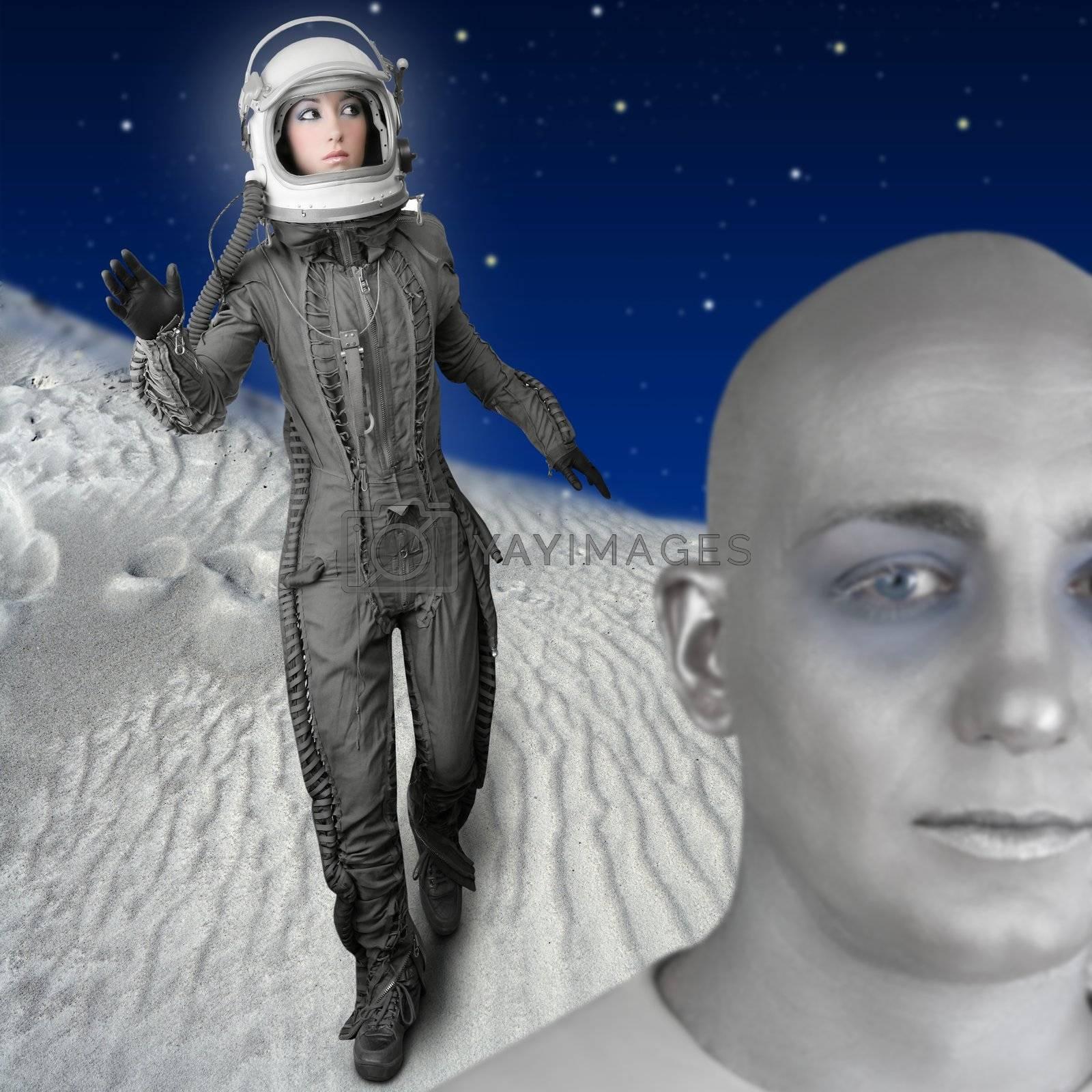 astronaut fashion woman full length space suit helmet alien planet metaphor