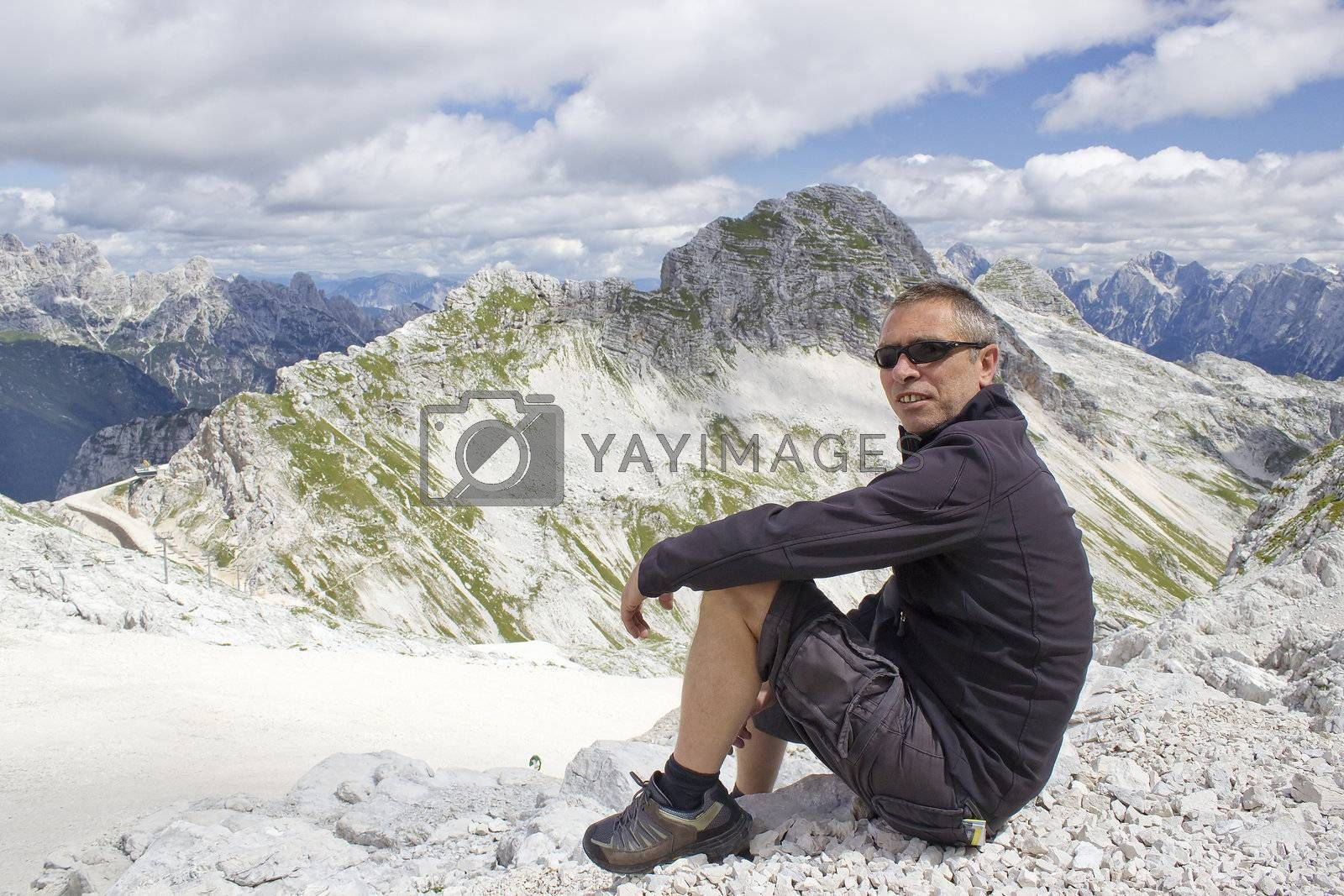 tourist  in the Julian Alps (Slovenia)