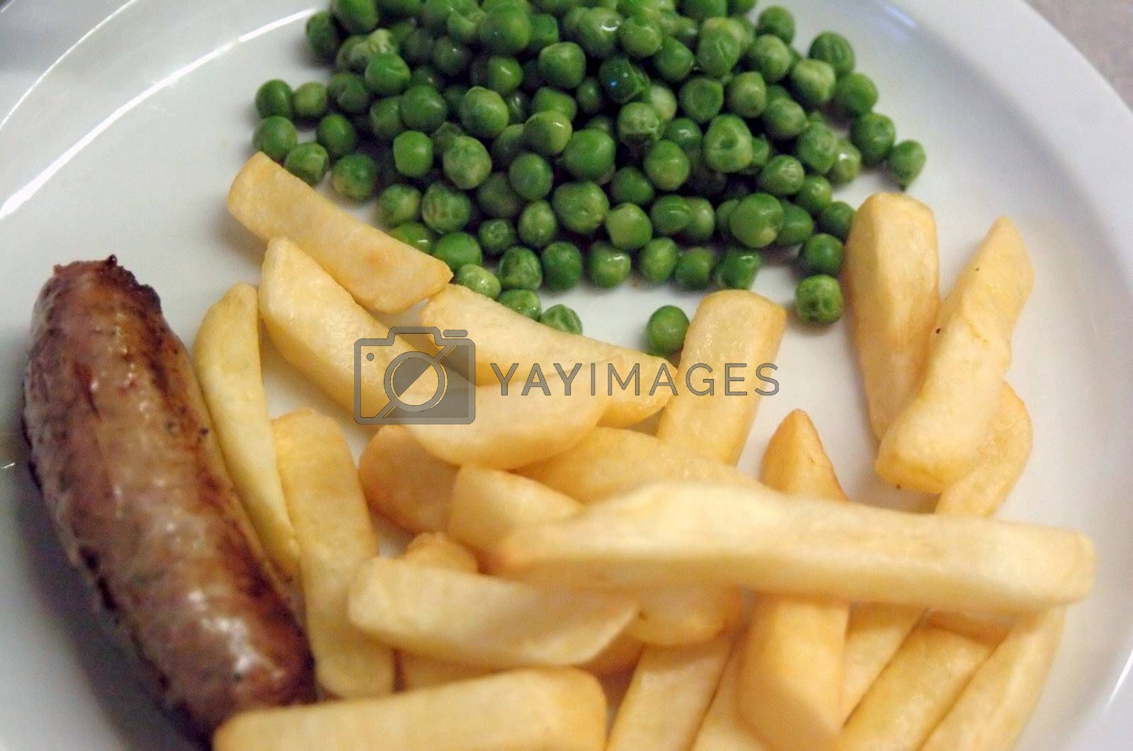 sausage chips and peas typical english kids menu in a pub or restaurant