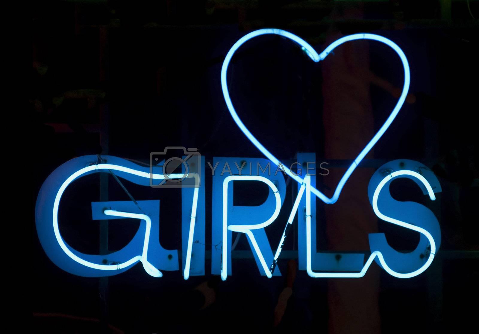 Girls in blue neon by epixx
