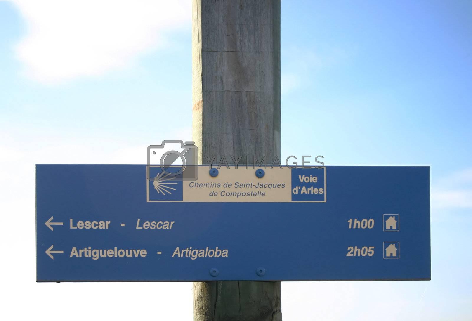 waymarking on the GR 65.3 to Santiago de Compostela, copy space