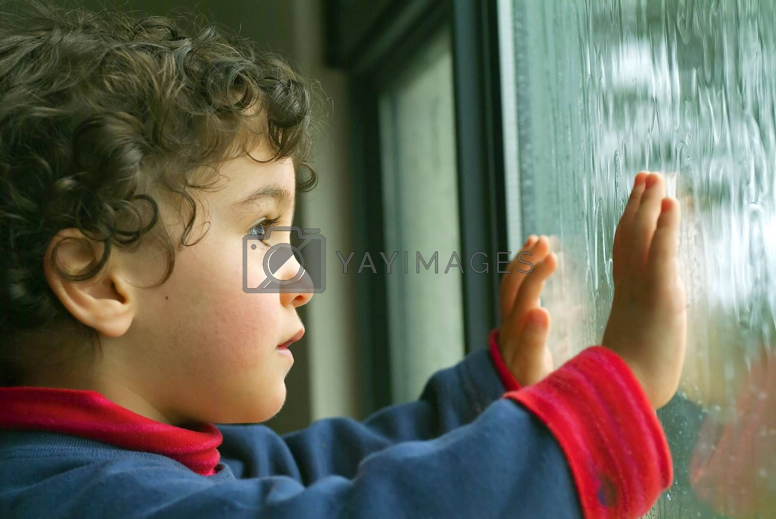 little boy watching the rain by noam