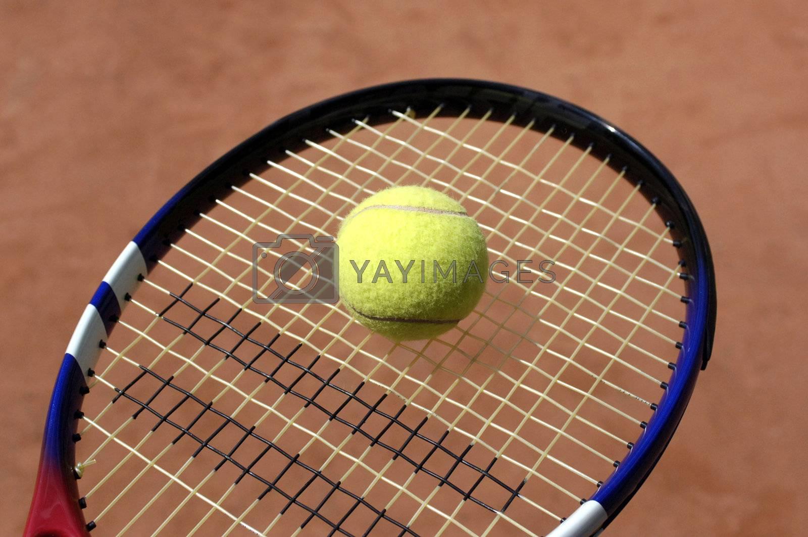 close up of tennis racket