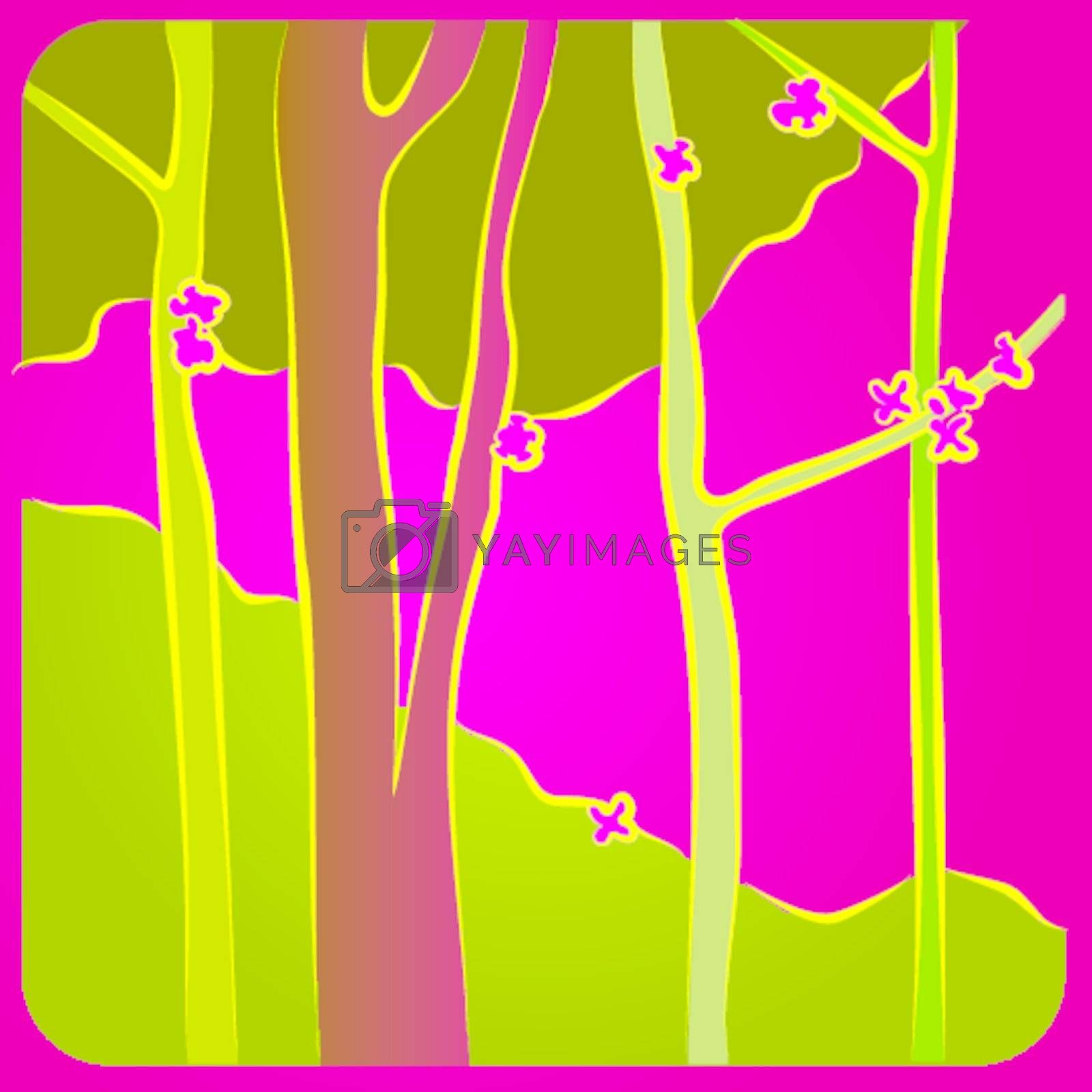 Illustration of a colorful forest in spring