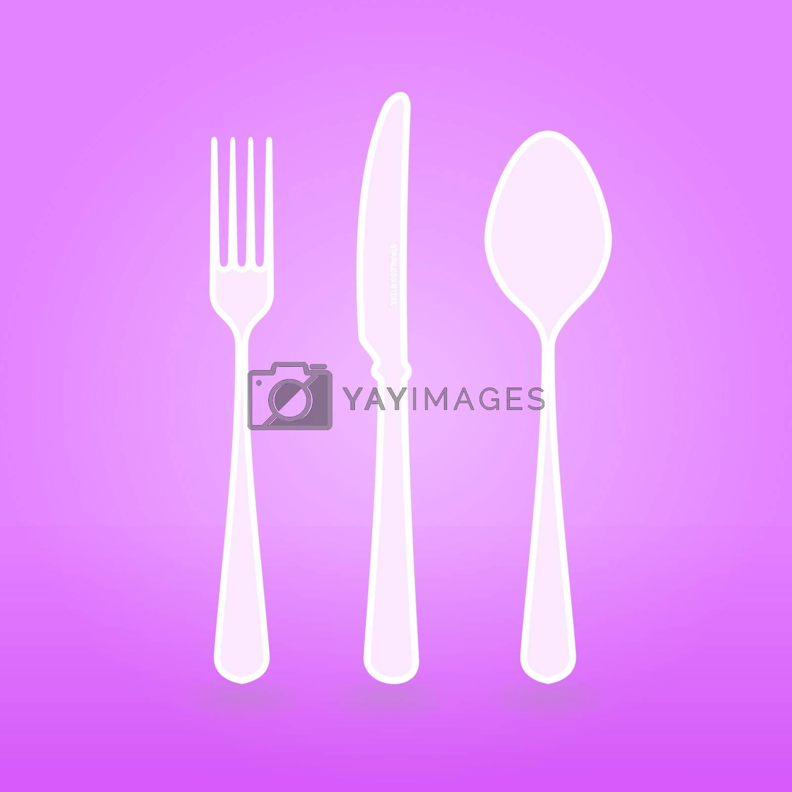 Illustration of Violet Cutlery vector set as design concept or background