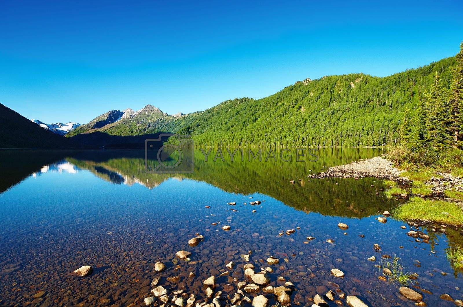 Mountain landscape with still lake and reflection