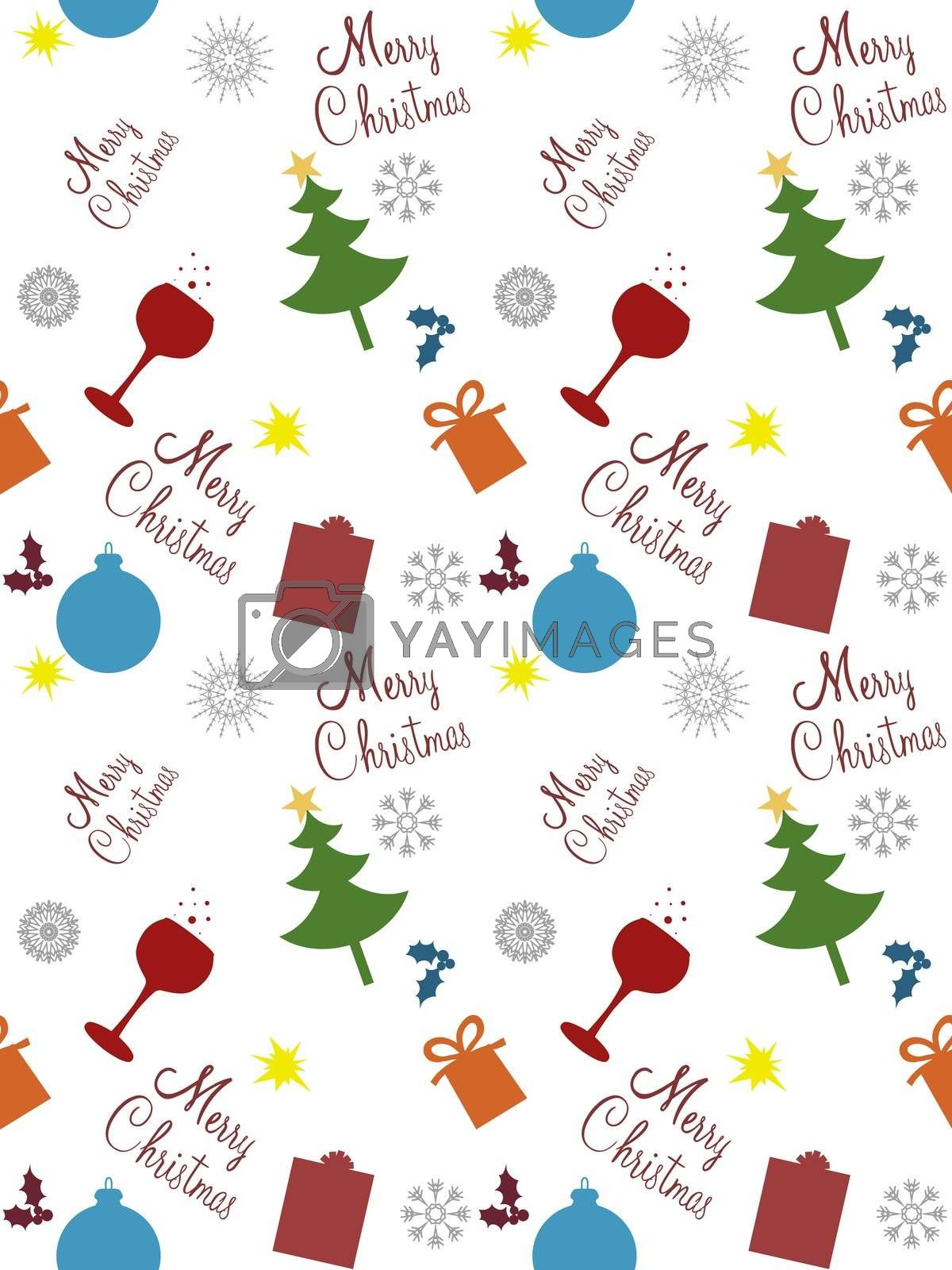 Illustration of seamless Christmas objects and text
