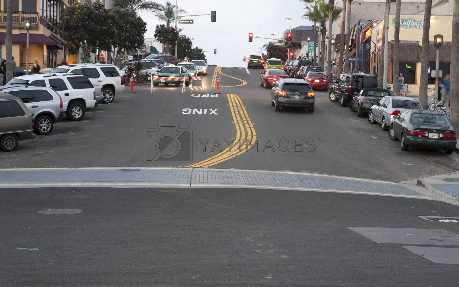Streets in Los Angeles, CA area. Near the coast.