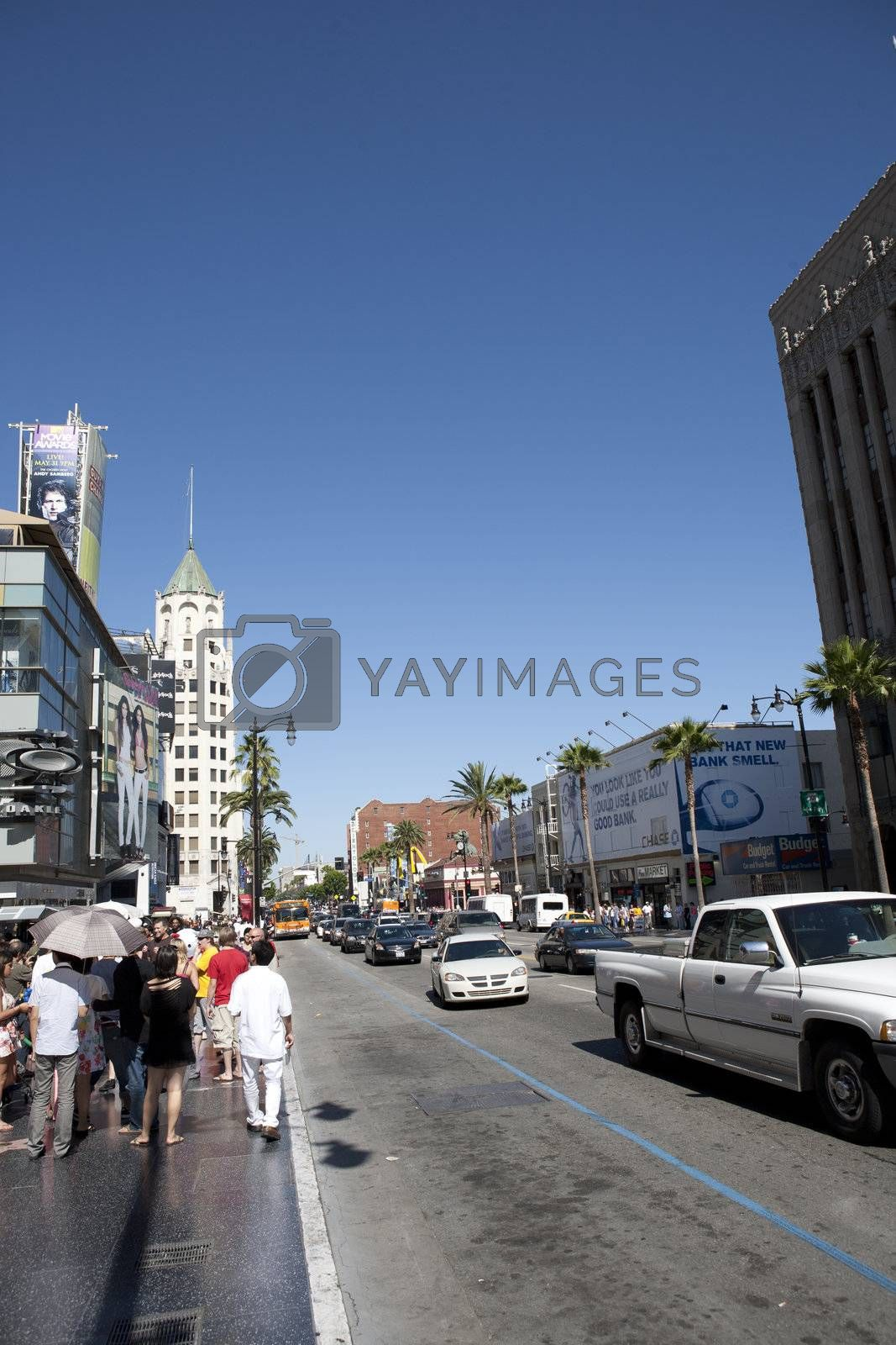 Vertical view of Hollywood boulevard, Hollywood, CA