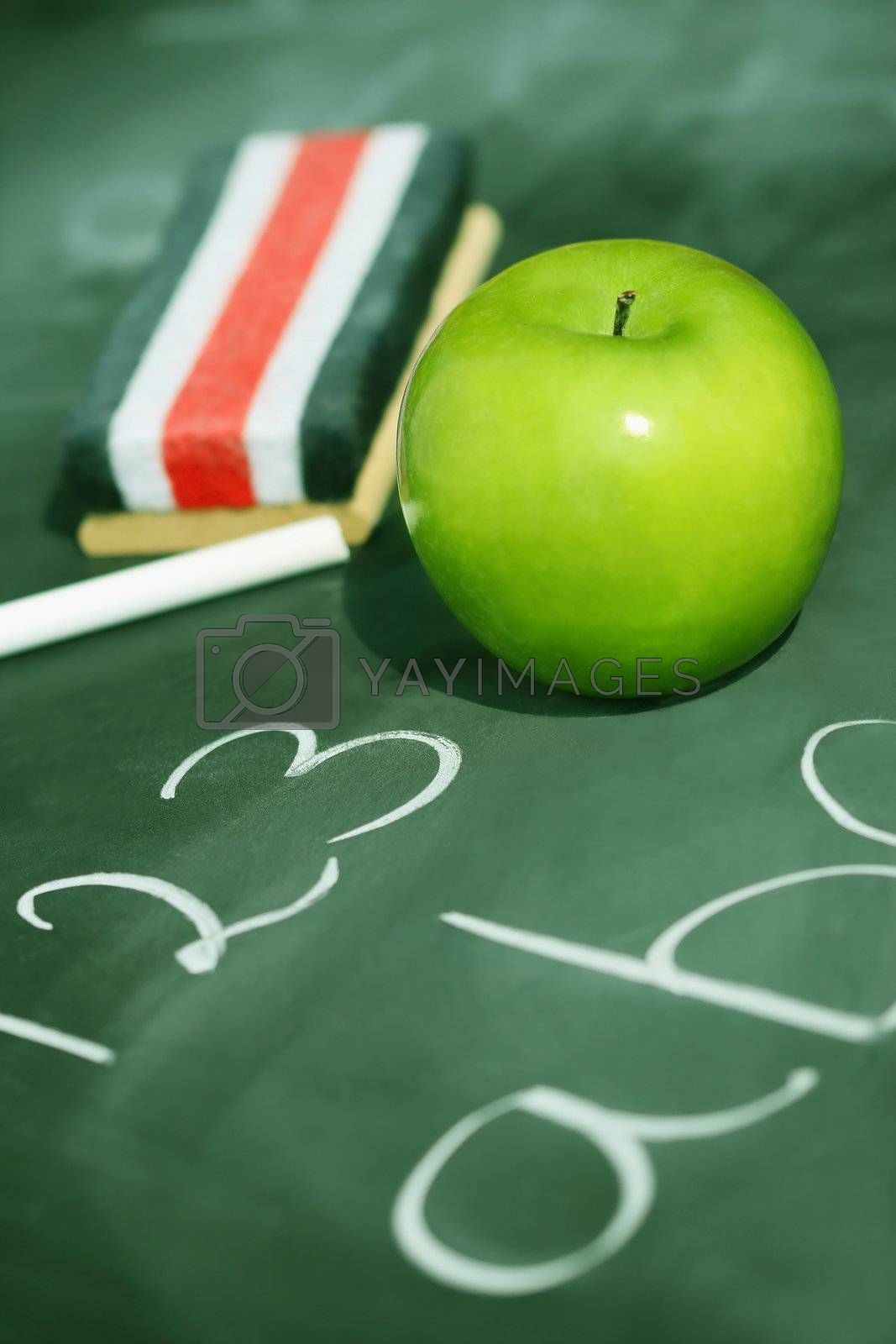 Green apple on chalkboard with easer/ Green