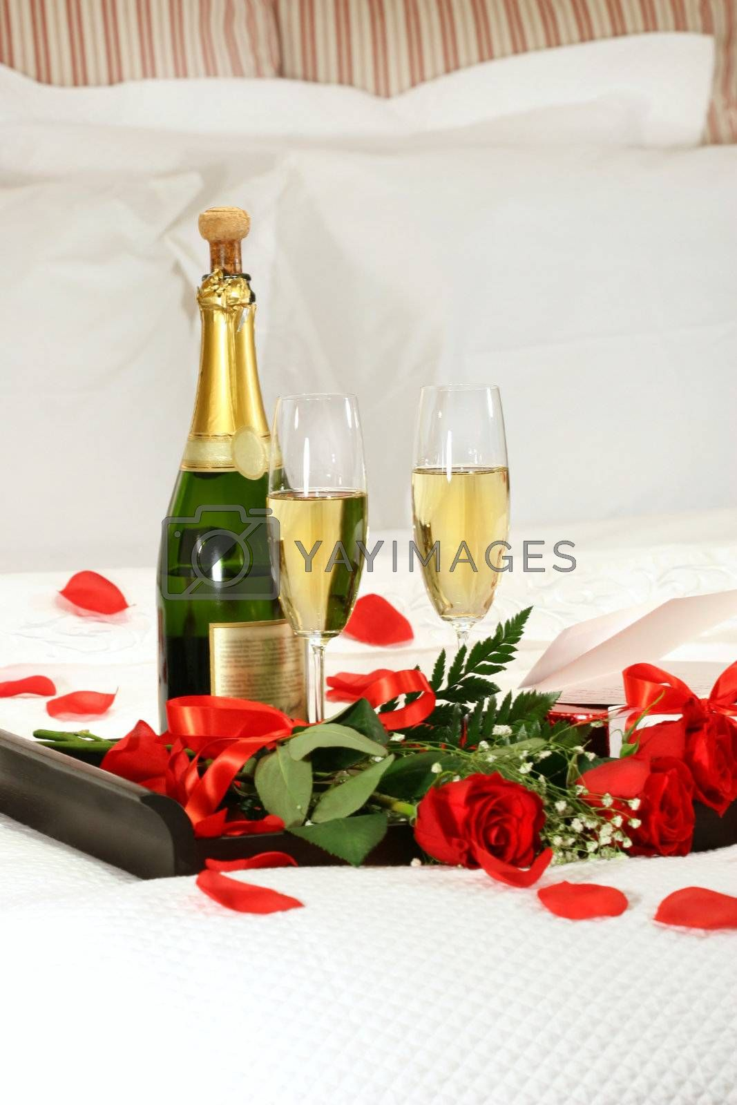 Romantic evening with champagne for Valentine's Day