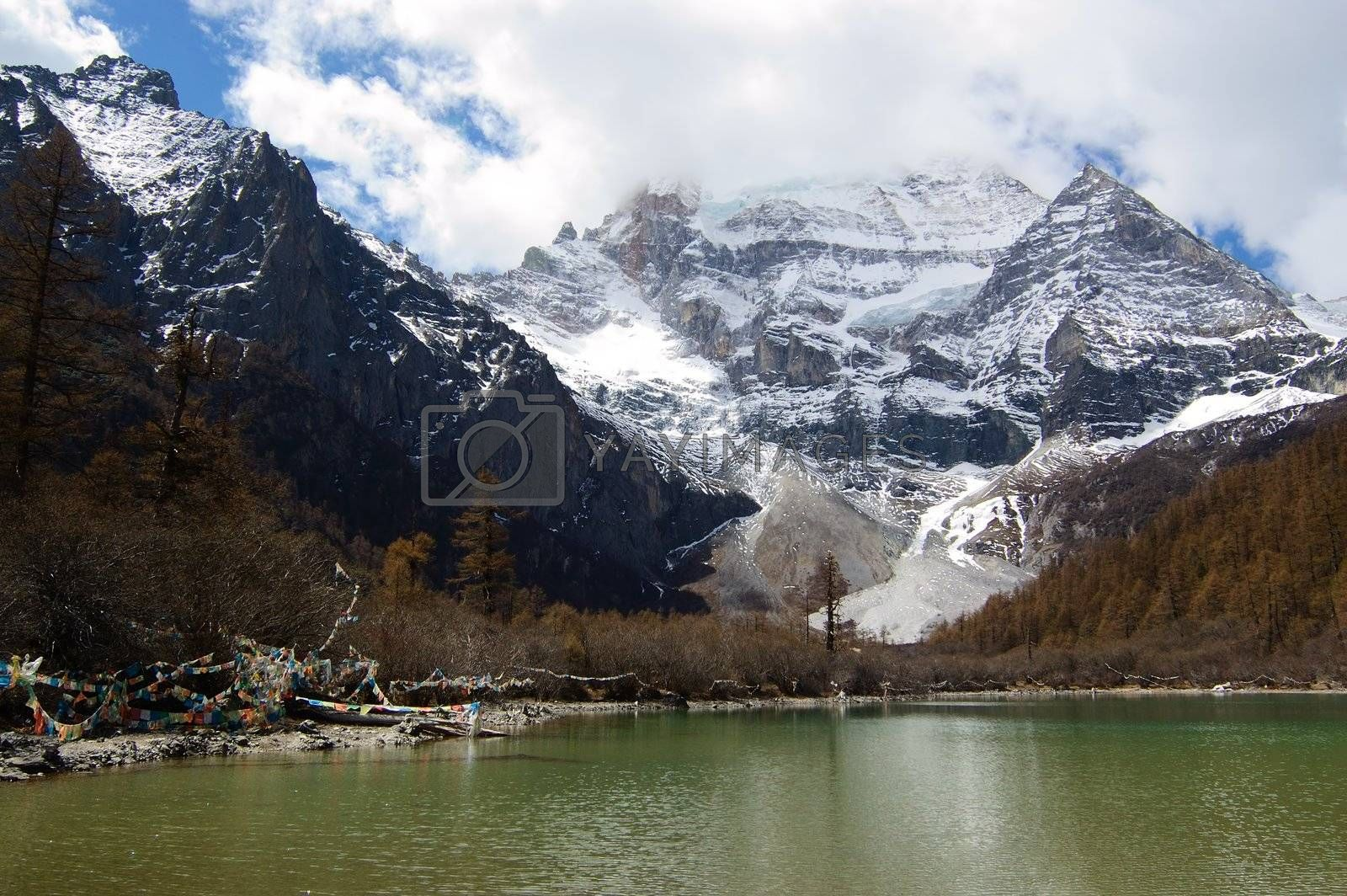 Snow mountain and lake in Daocheng,Sichuan Province, China