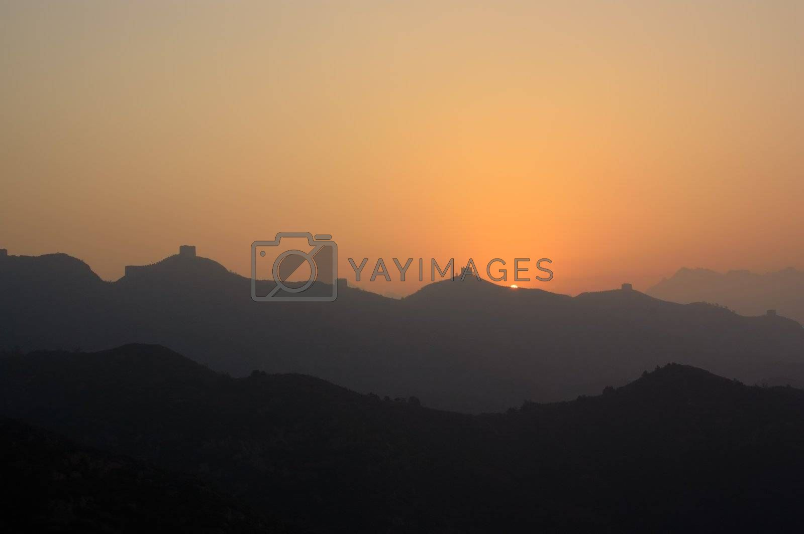 China great wall sunrise  in Jinshanling, Hebei Province