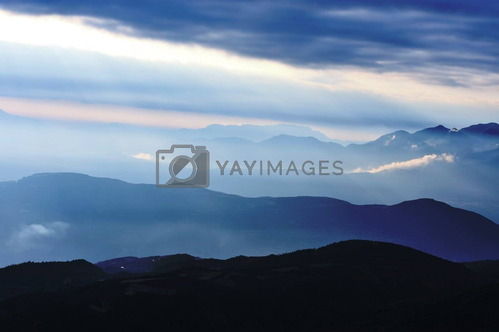 Mountain area at sunrise in Yunnan province, China