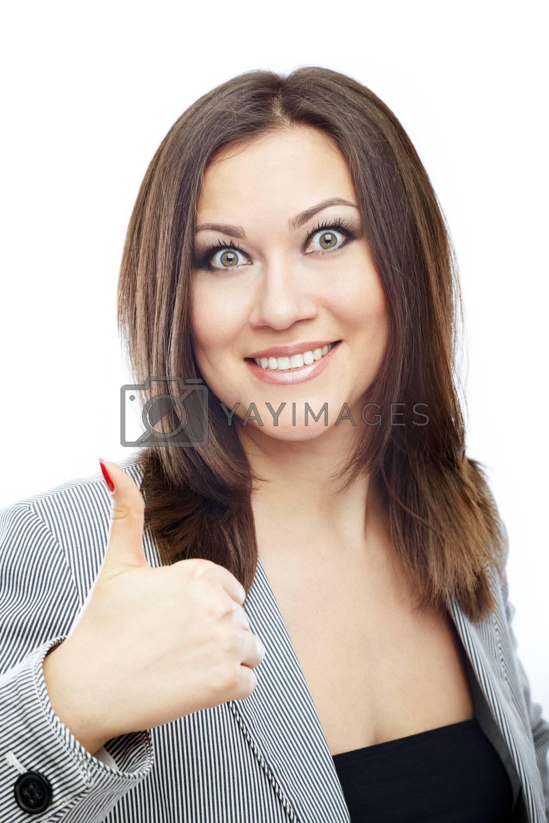 Glad bussinesswoman making OK sign
