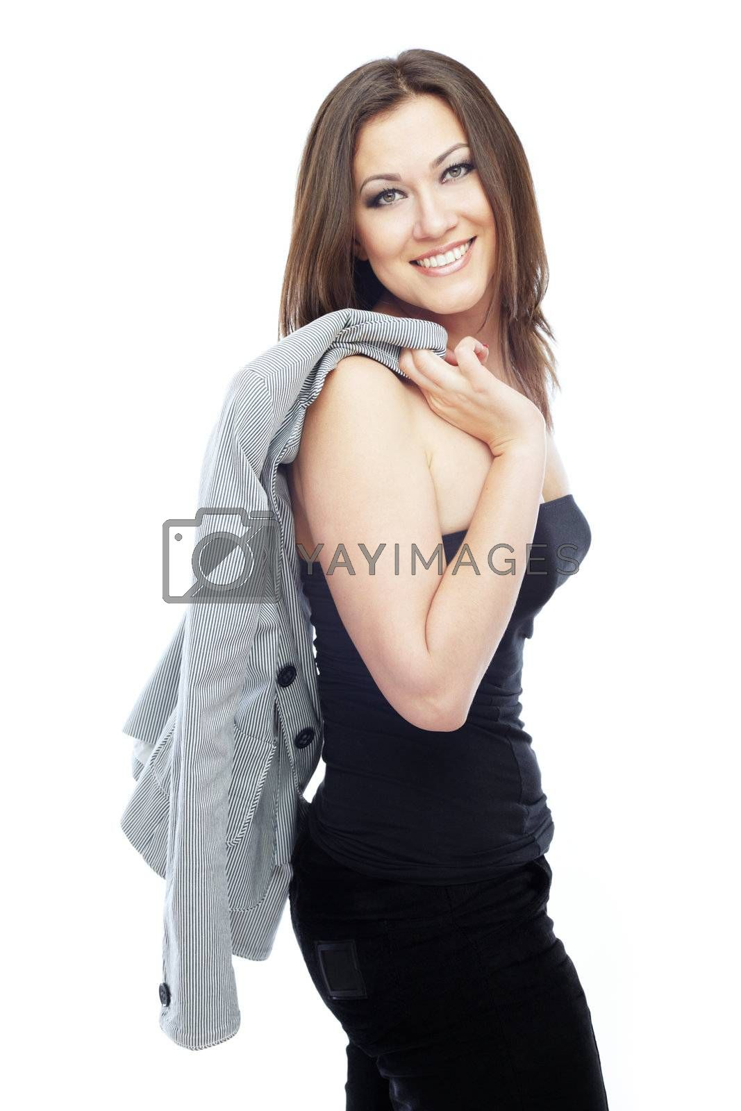 Successful smiling businesswoman with jacket on her sholder