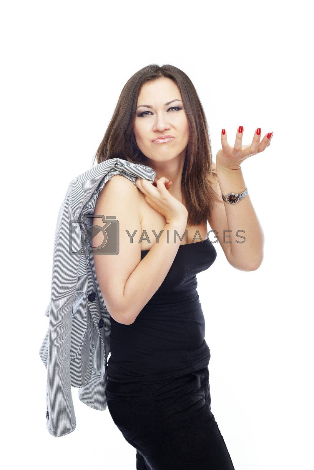 Gesturing angry businesswoman on a white background