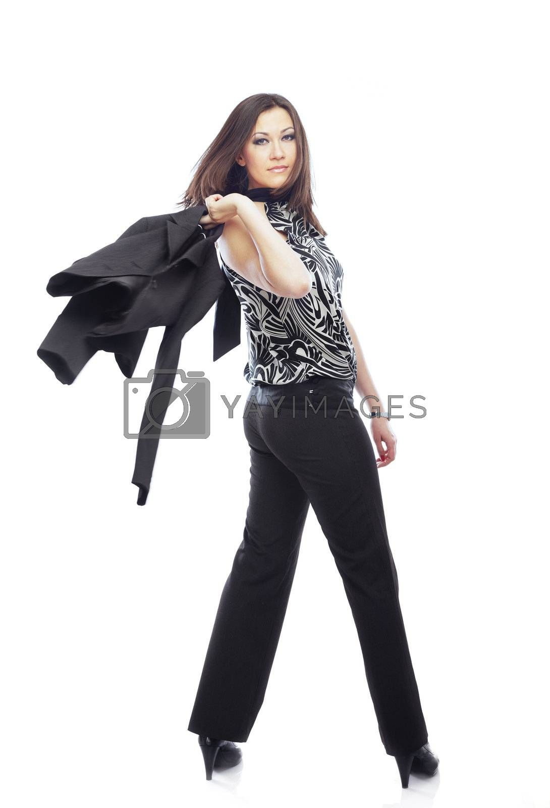 Turning back businesswoman with moving jacket on a white background