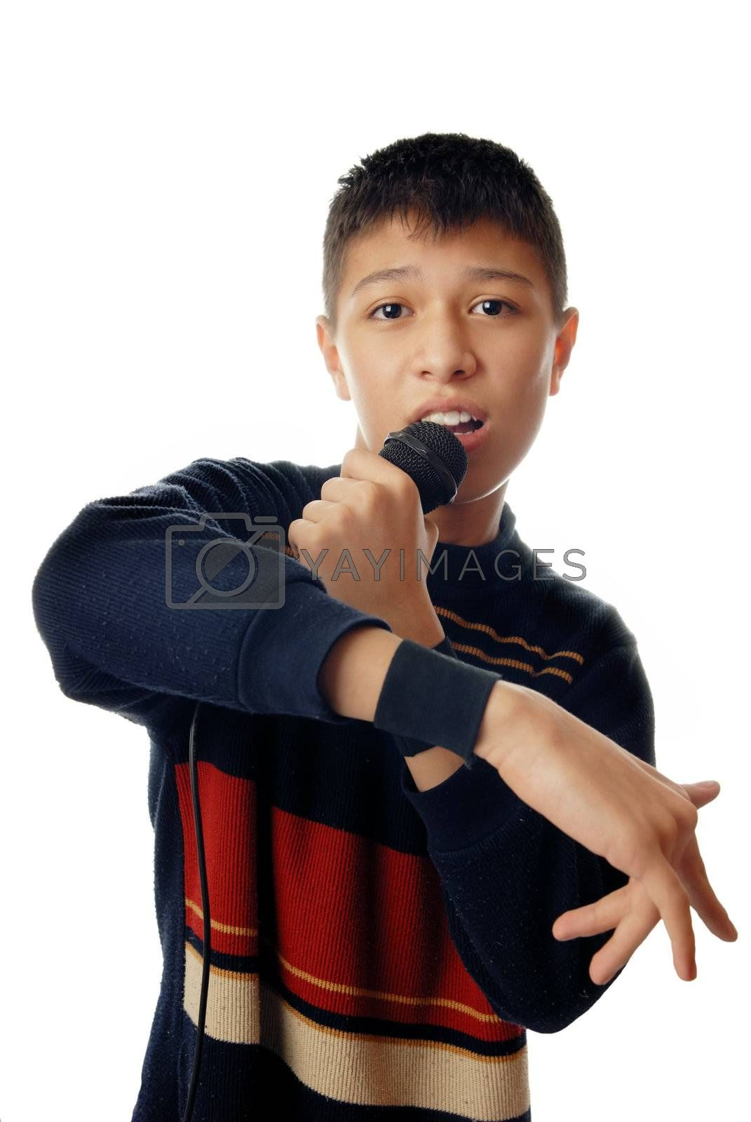 Young boy singing a hip-hop song