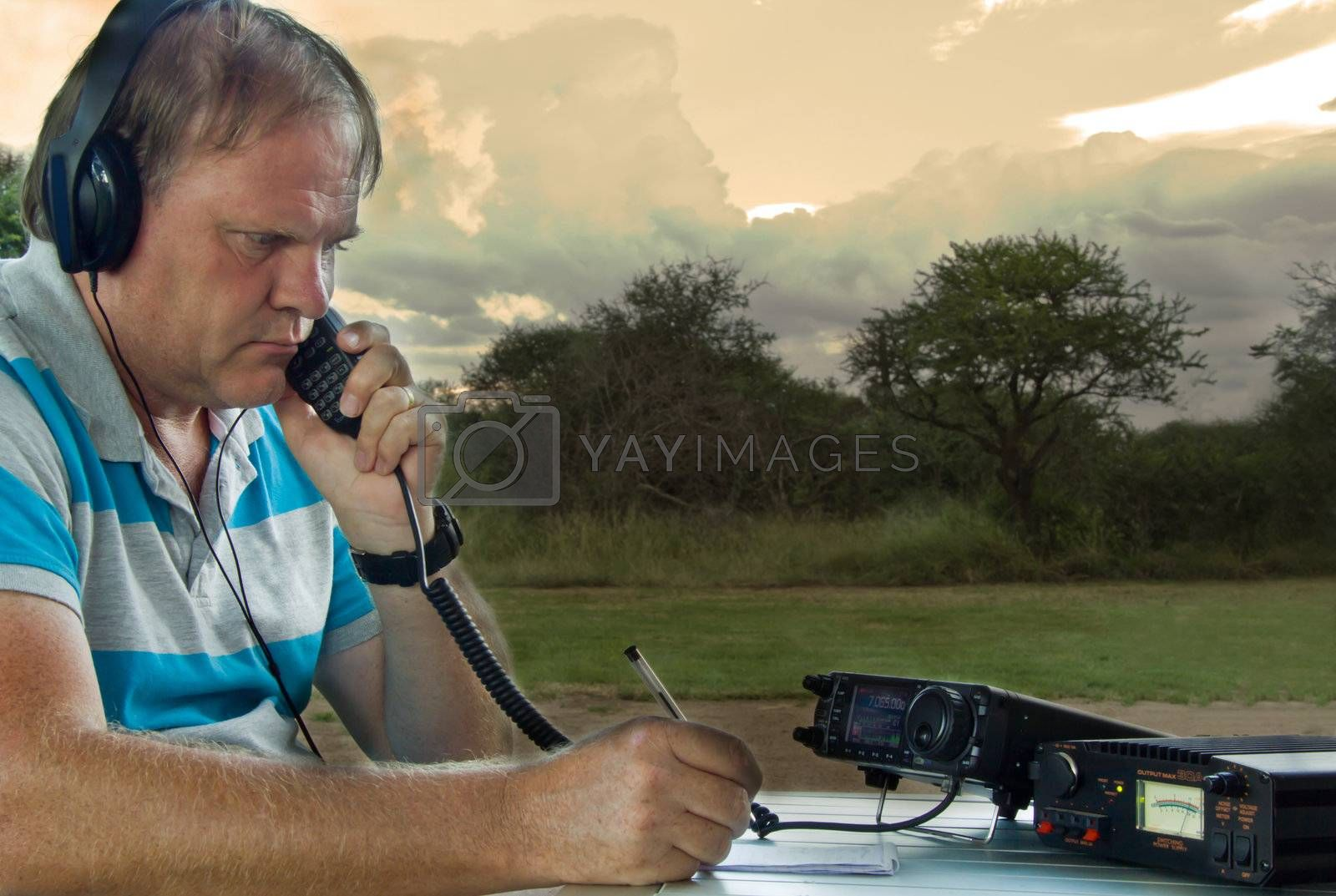 Amateur radio(Ham radio) operator communication from a romote game lodge in the Bushvelt ,South Africa