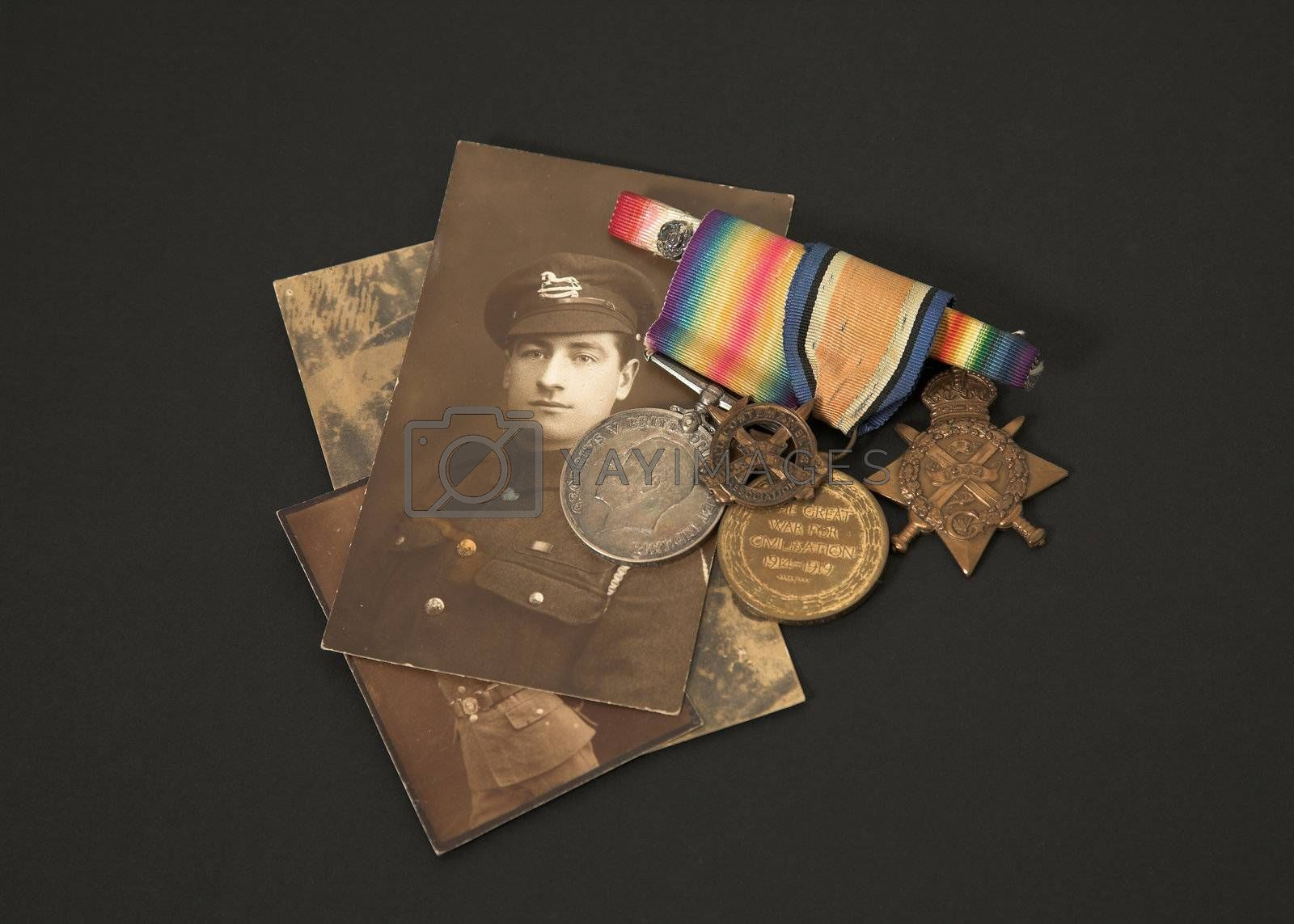 Photograph and medals of a Great War veteran