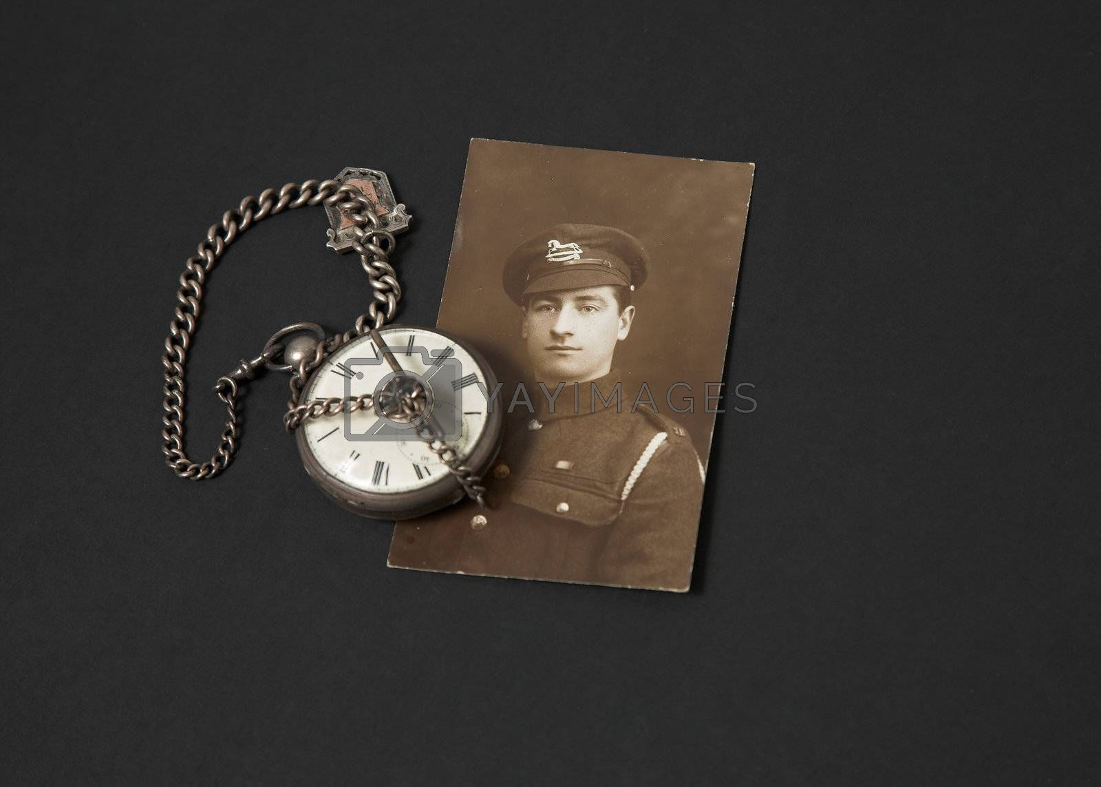 Photograph of a Great War veteran and antique pocket watch