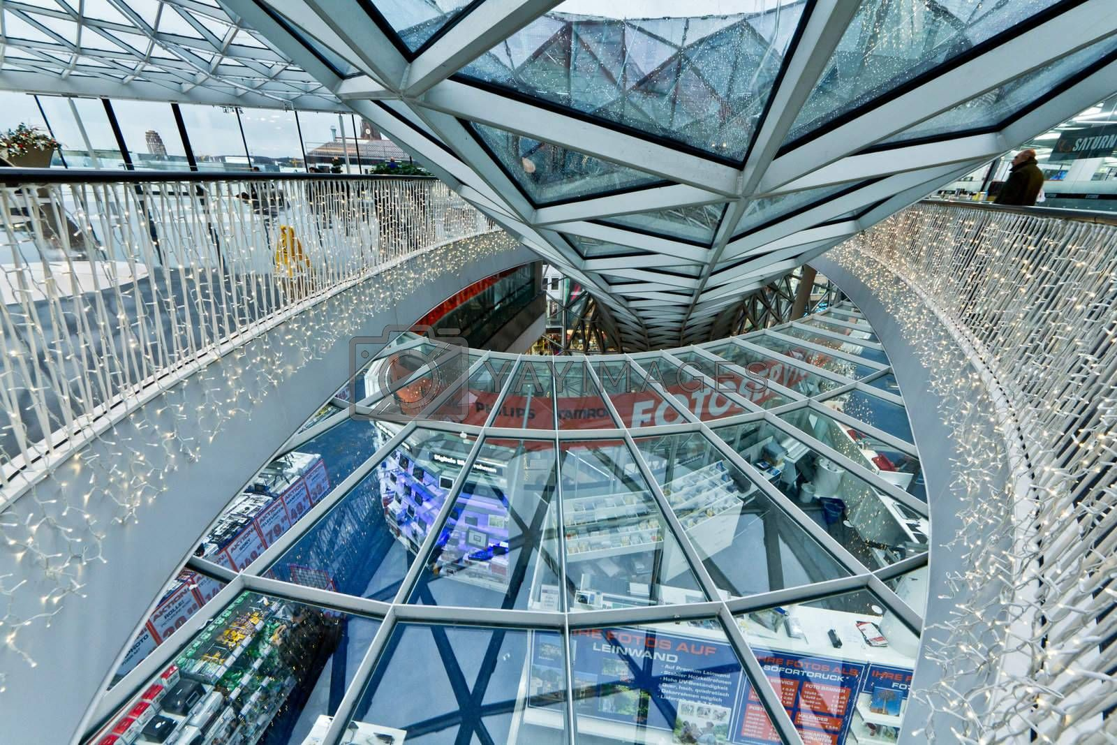The interior of MyZeil Shopping Mall in Frankfurt Germany