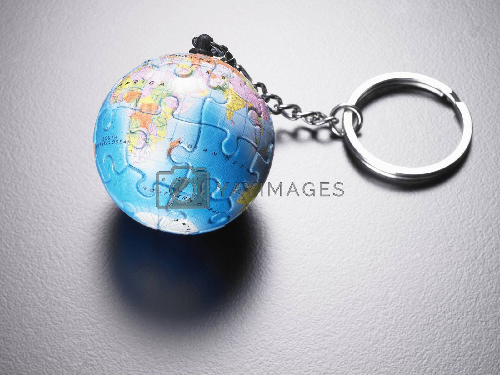 Jigsaw puzzle sphere on keychain.