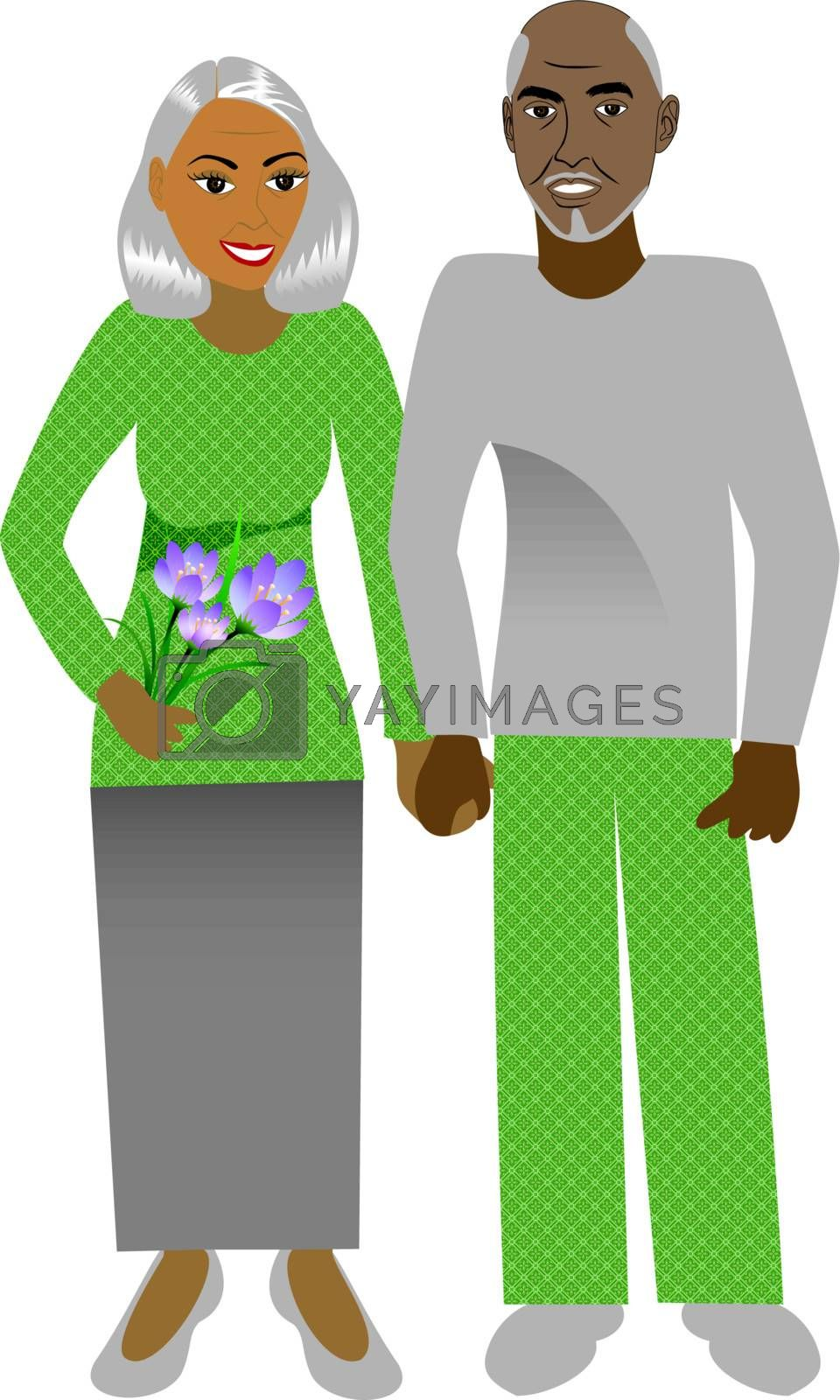 Vector Illustration of a happy old couple in love.