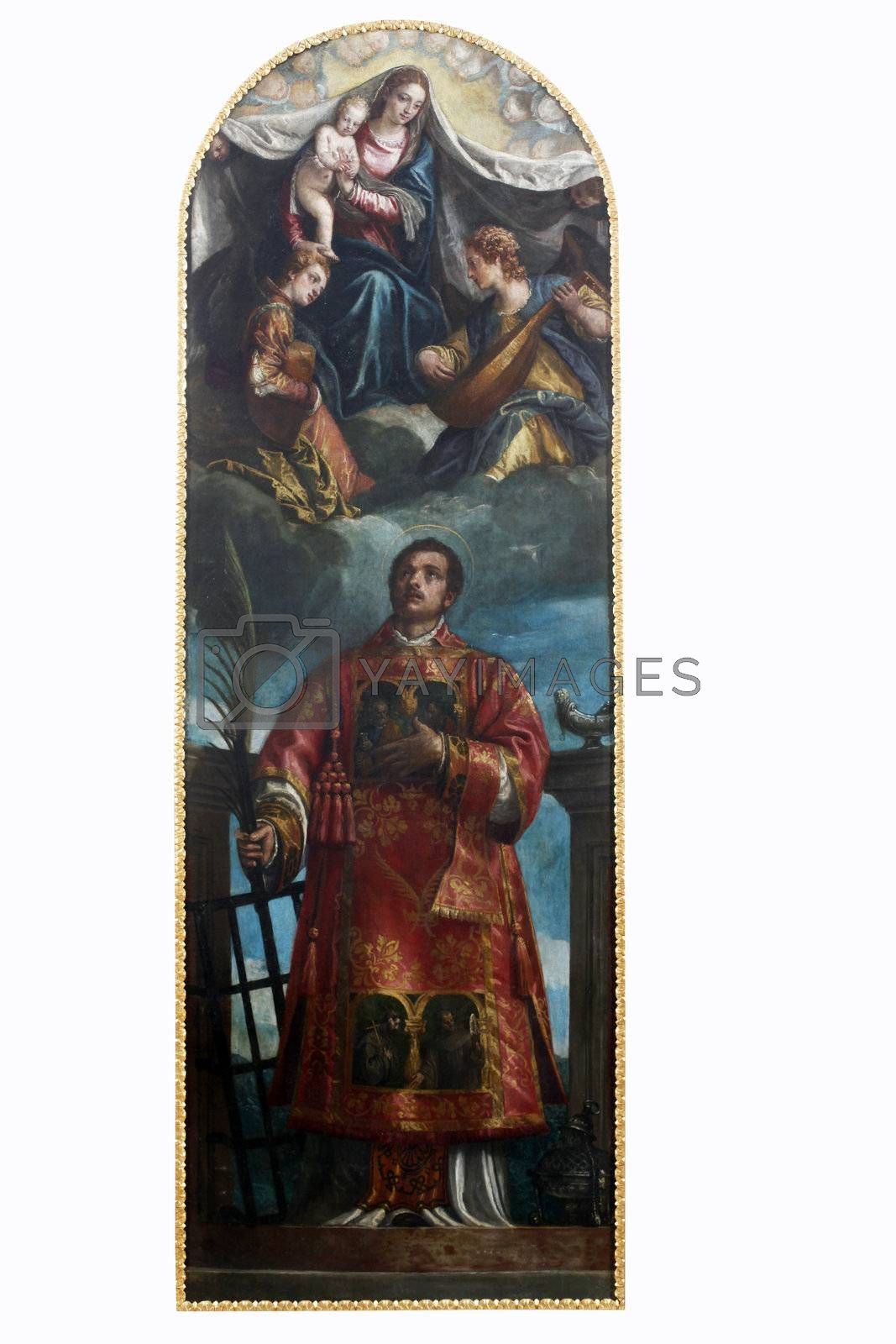ZAGREB, CROATIA - DECEMBER 12: Paolo Veronese: Saint Lawrence with the Virgin, Christ and angels, exhibited at the Great Masters renesnse in Croatia, opened December 12, 2011. in Zagreb, Croatia