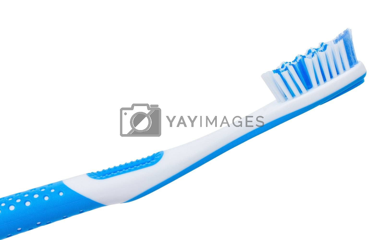 close-up blue tooth brush, isolated on white