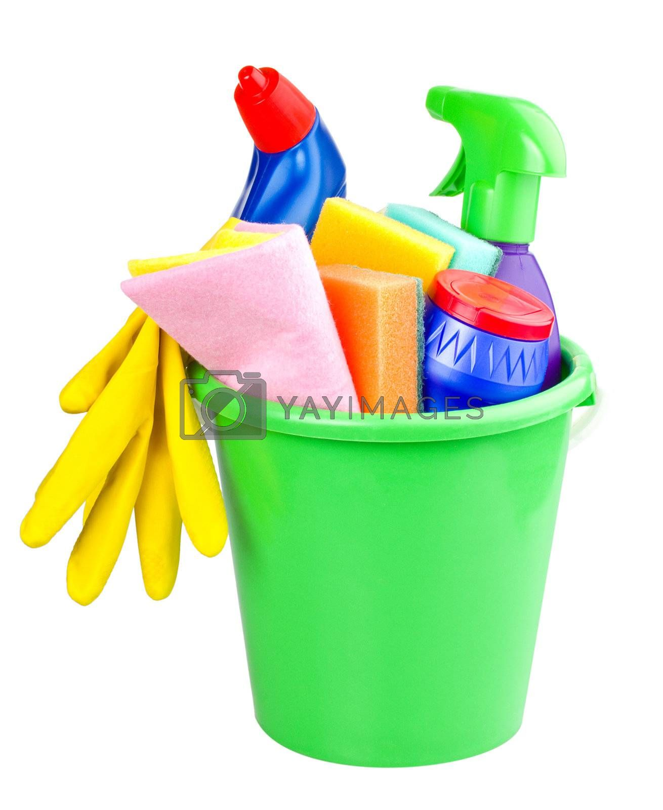 bucket with cleaning articles, isolated on white