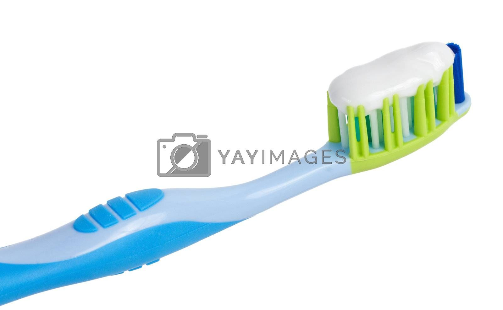 close-up tooth brush with tooth paste, isolated on white