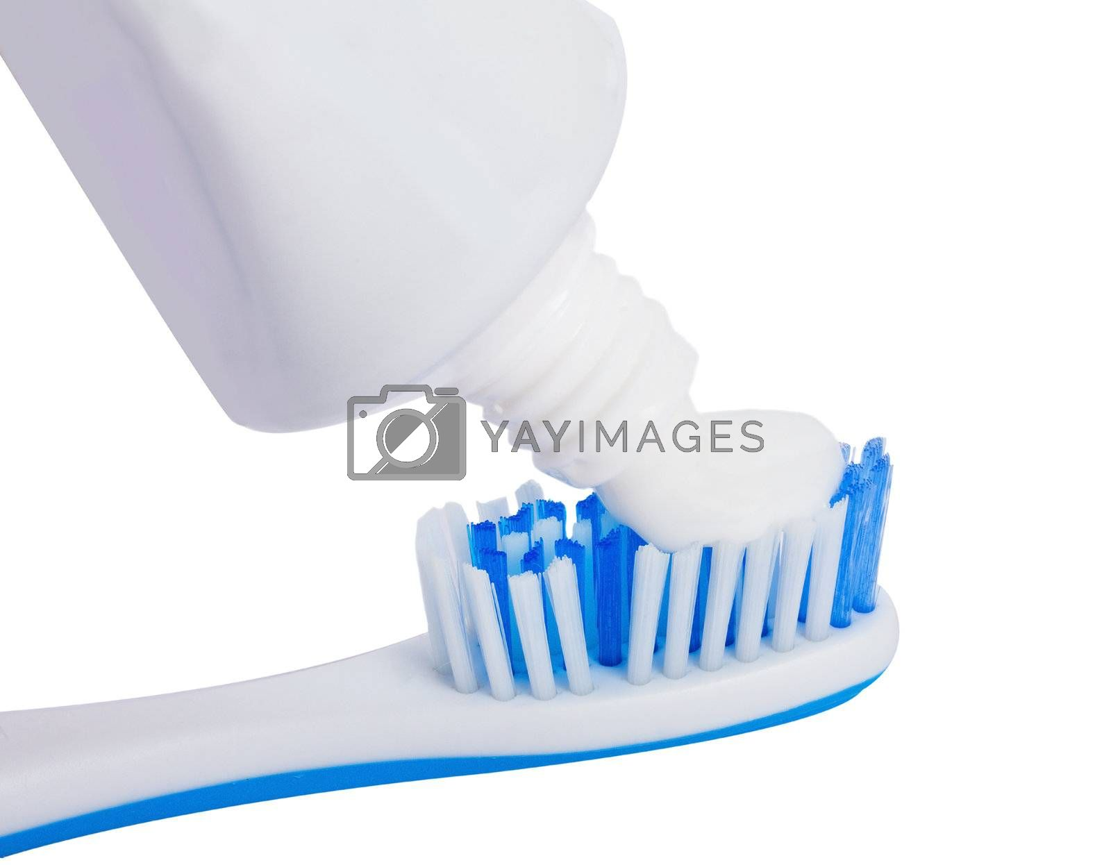 toothbrush with toothpaste, isolated on white