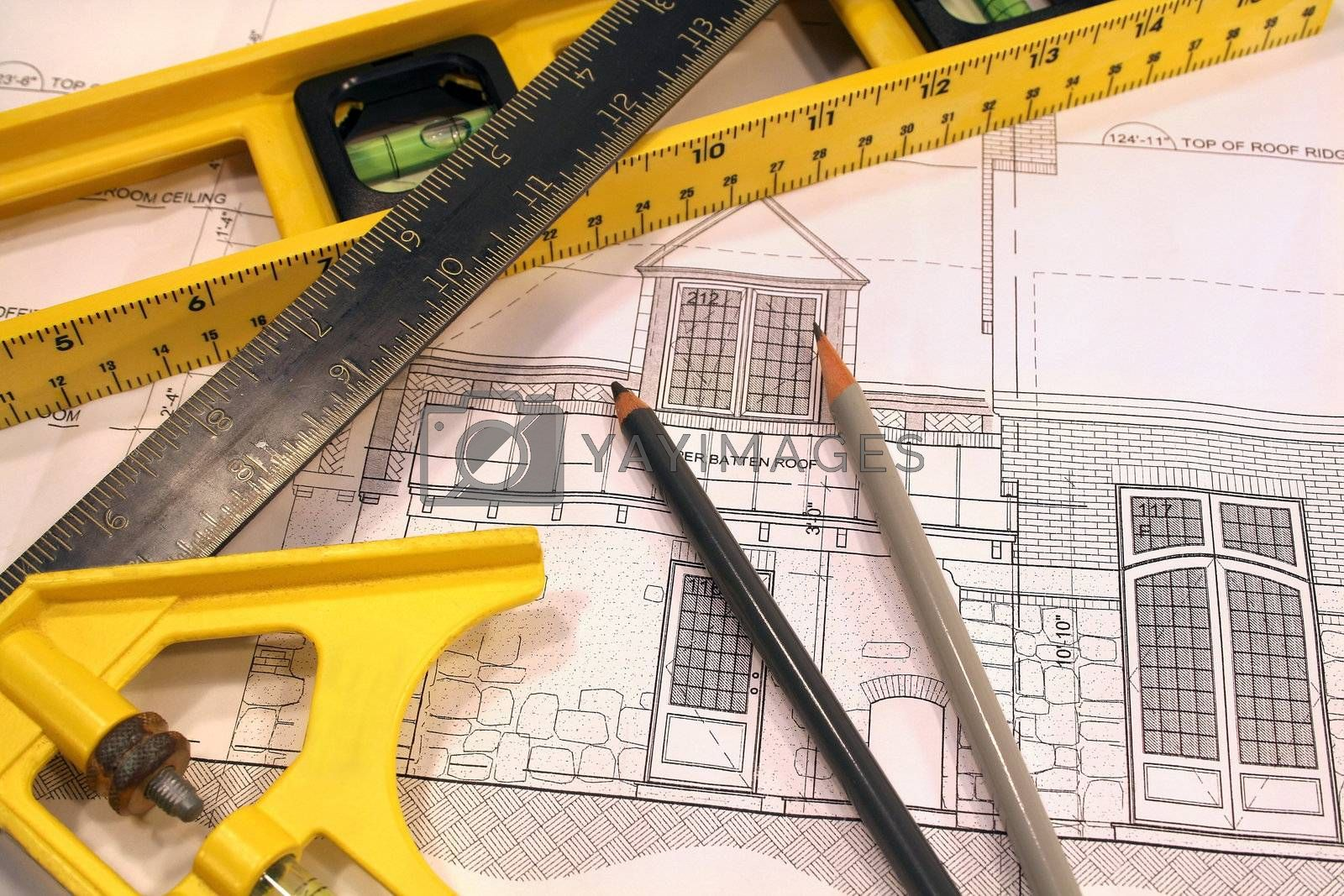 Architectural drawings and  tools of the trade