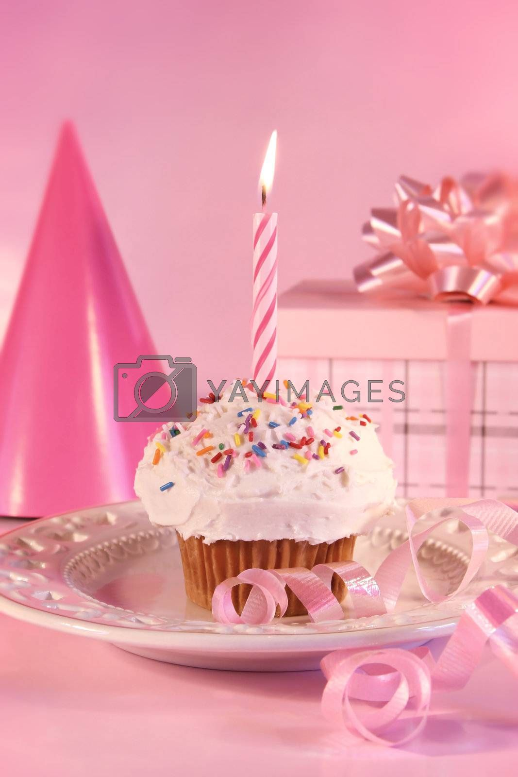 One little cupcake with candle