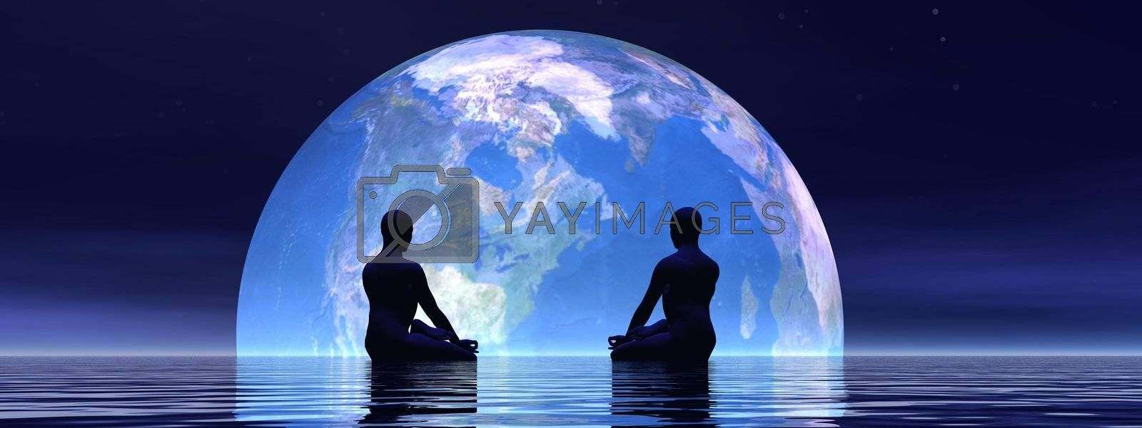 Two human silouhettes meditating in front of the earth by night