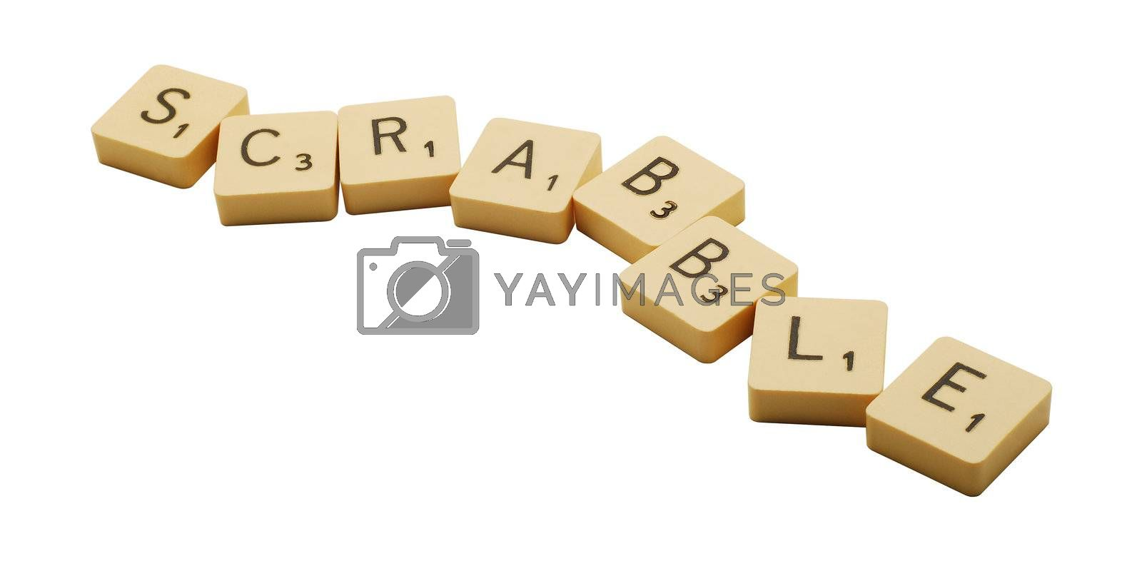 Caransebes, Romania, October, 13th, 2009 - Scrabble game pieces isolated on white