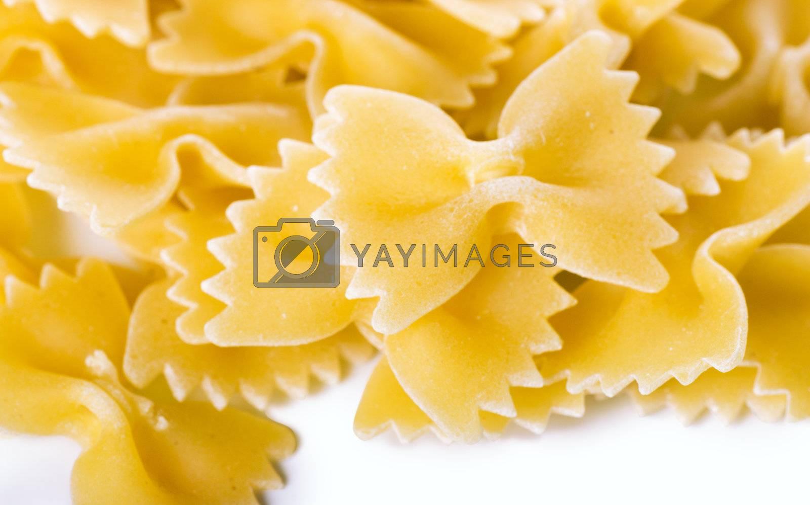 Closeup view of dried bow shaped macaroni