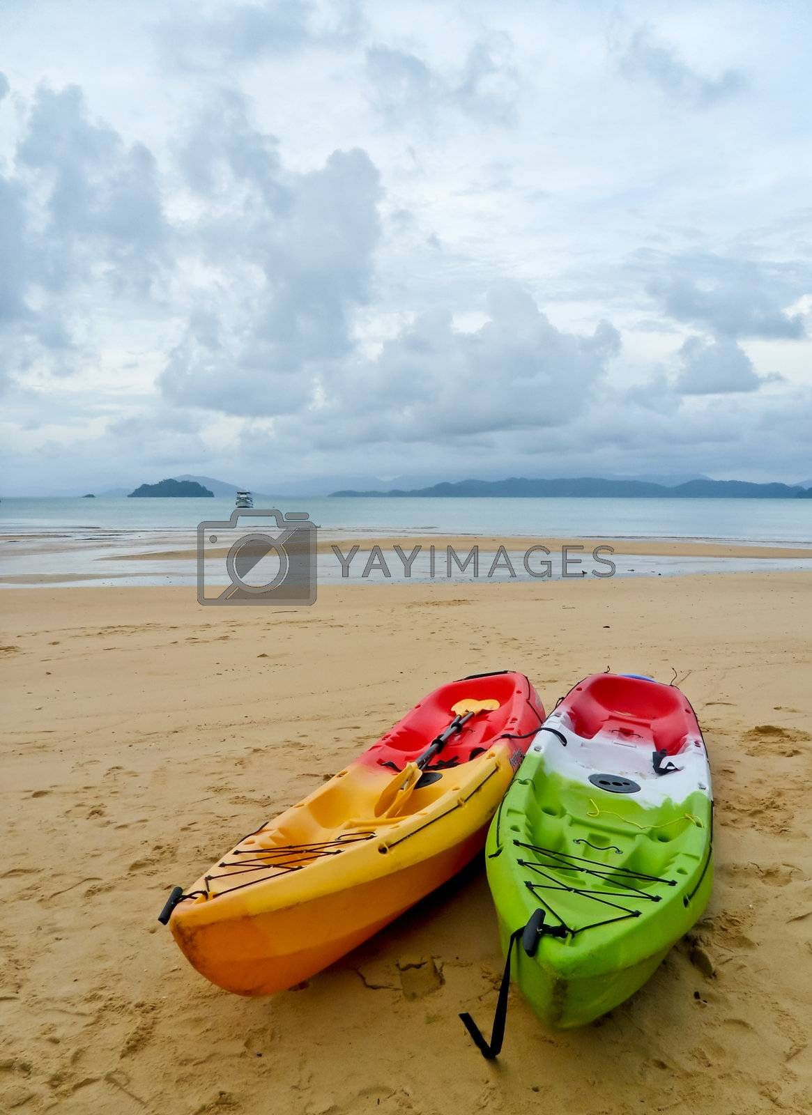 The two colorful kayak on the cloudy beach